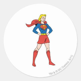 Supergirl Pose 7 Classic Round Sticker