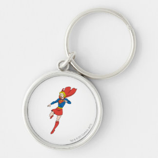Supergirl  Pose 8 Silver-Colored Round Keychain
