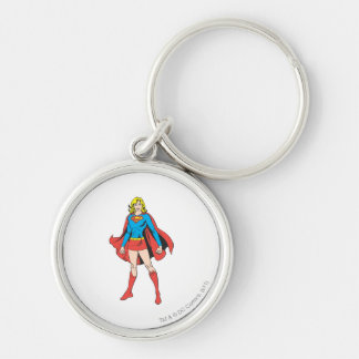 Supergirl Poses Silver-Colored Round Keychain