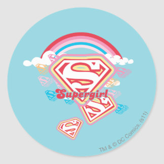 Supergirl Rainbow Classic Round Sticker