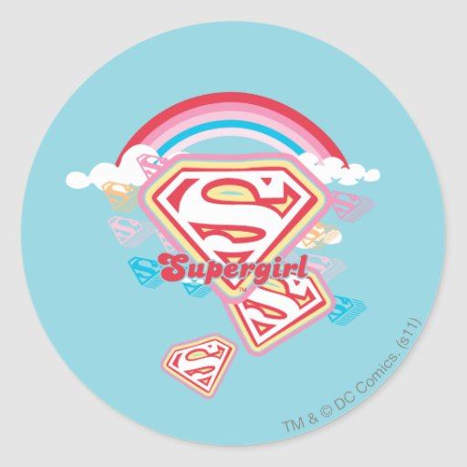 Supergirl Rainbow Classic Round Sticker