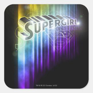 Supergirl Rainbow Square Sticker