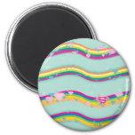 Supergirl Rainbow Waves Green 2 Inch Round Magnet