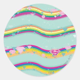 Supergirl Rainbow Waves Green Classic Round Sticker