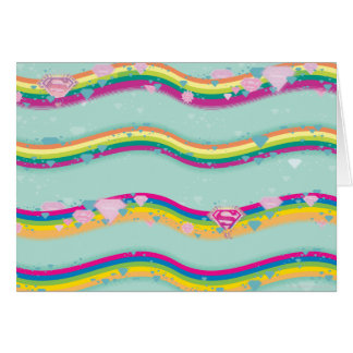 Supergirl Rainbow Waves Green Greeting Cards