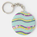 Supergirl Rainbow Waves Green Basic Round Button Keychain
