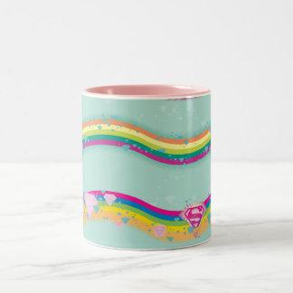 Supergirl Rainbow Waves Green Mugs