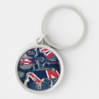 Supergirl Red, White & Blue Silver-Colored Round Keychain