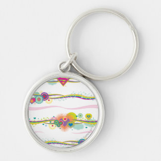 Supergirl Retro Rainbow Silver-Colored Round Keychain