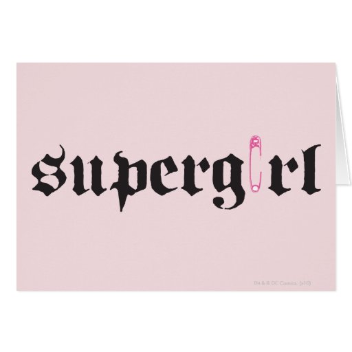 Supergirl Safety Pin Letter Card