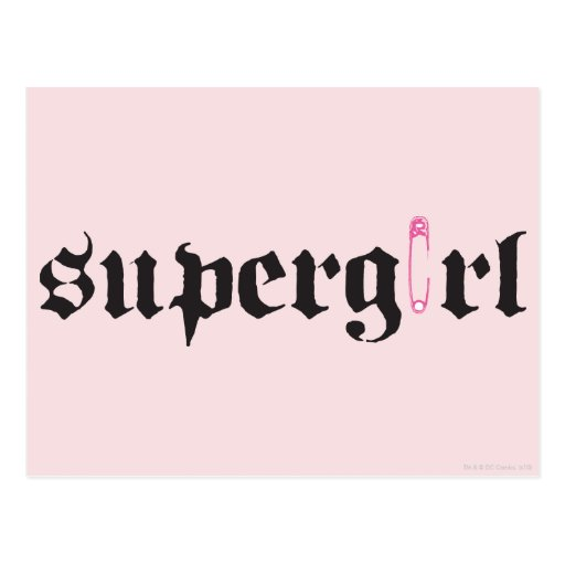 Supergirl Safety Pin Letter Postcard