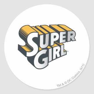 Supergirl Silver and Orange Logo Classic Round Sticker