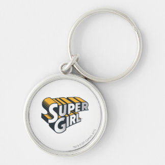 Supergirl Silver and Orange Logo Silver-Colored Round Keychain