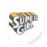 Supergirl Silver and Orange Logo Classic Round Sticker