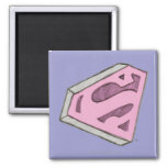 Supergirl Sketched Pink Logo 2 Inch Square Magnet
