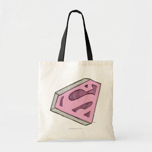 Supergirl Sketched Pink Logo Canvas Bag