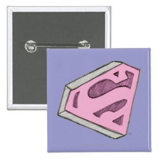Supergirl Sketched Pink Logo Pinback Buttons