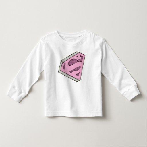 Supergirl Sketched Pink Logo T Shirt