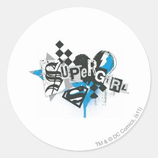 Supergirl Spills and Splatter Classic Round Sticker