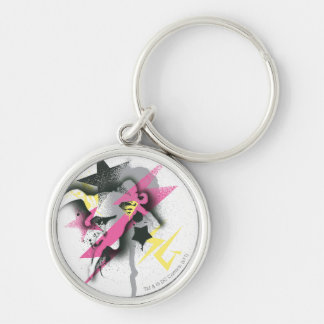Supergirl Spray Paint Silver-Colored Round Keychain