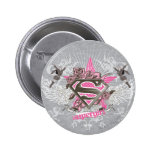 Supergirl Star and Roses Button