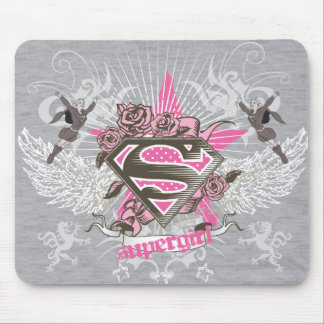 Supergirl Star and Roses Mouse Pad