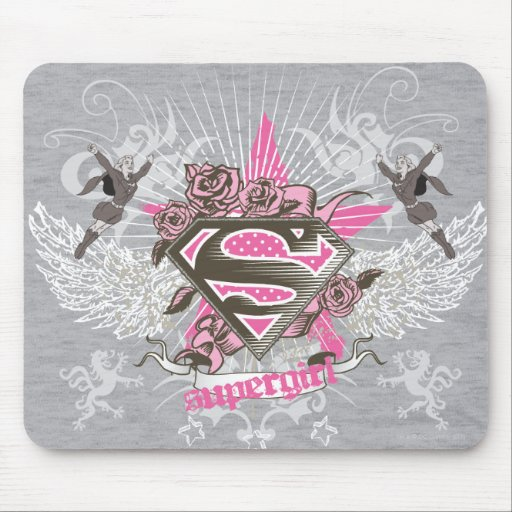 Supergirl Star and Roses Mousepad