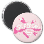 Supergirl Stars and Logo 2 Inch Round Magnet