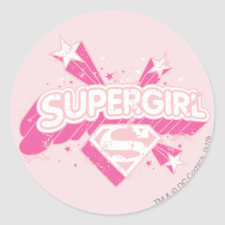 Supergirl Stars and Logo Classic Round Sticker