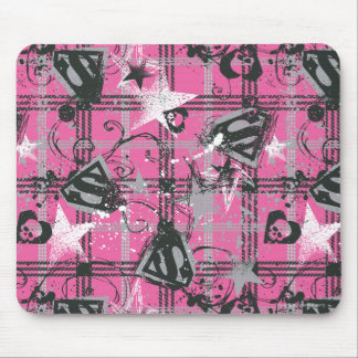 Supergirl Stars and Skulls Pattern Mouse Pad