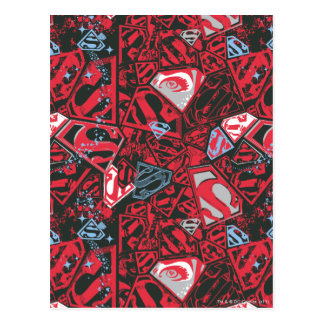 Supergirl Stary Red Pattern Postcard