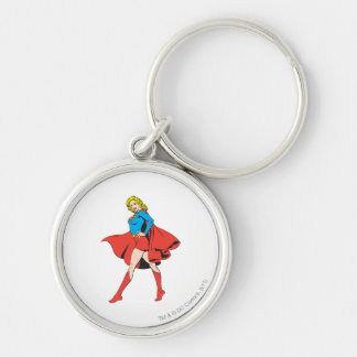 Supergirl Strikes a Pose Silver-Colored Round Keychain