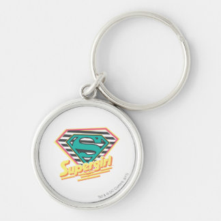 Supergirl Striped Logo Silver-Colored Round Keychain