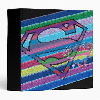 Supergirl Striped Rainbow Logo 3 Ring Binder