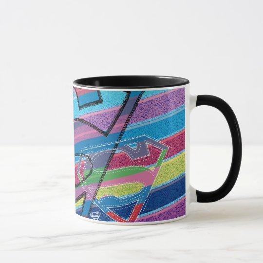 Supergirl Striped Rainbow Logo Mug