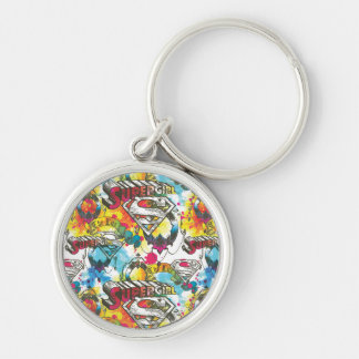Supergirl The Lux Pattern Silver-Colored Round Keychain