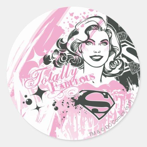Supergirl totalmente fabuloso pegatina redonda