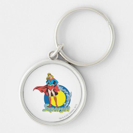Supergirl with Logo Keychain