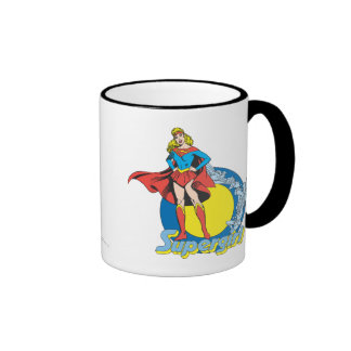 Supergirl with Logo Ringer Coffee Mug