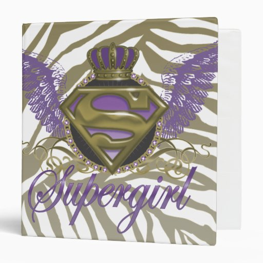 Supergirl Zebra Print 3 Ring Binder