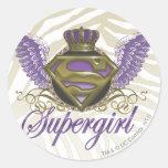 Supergirl Zebra Print Round Stickers