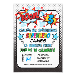 Superhero 3rd birthday Party Invitation