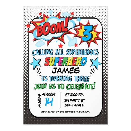 Superhero 3rd birthday party invitation zazzle superhero 3rd birthday party invitation filmwisefo