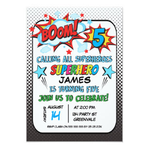 Superhero 5th Birthday Party Invitation