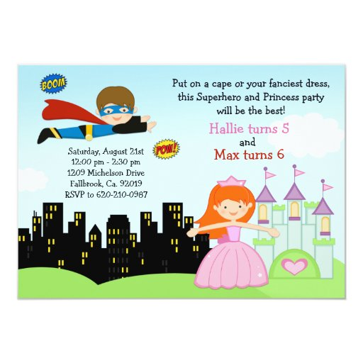 "Superhero and Princess Birthday Party Invitation 5"" X 7"" Invitation Card"