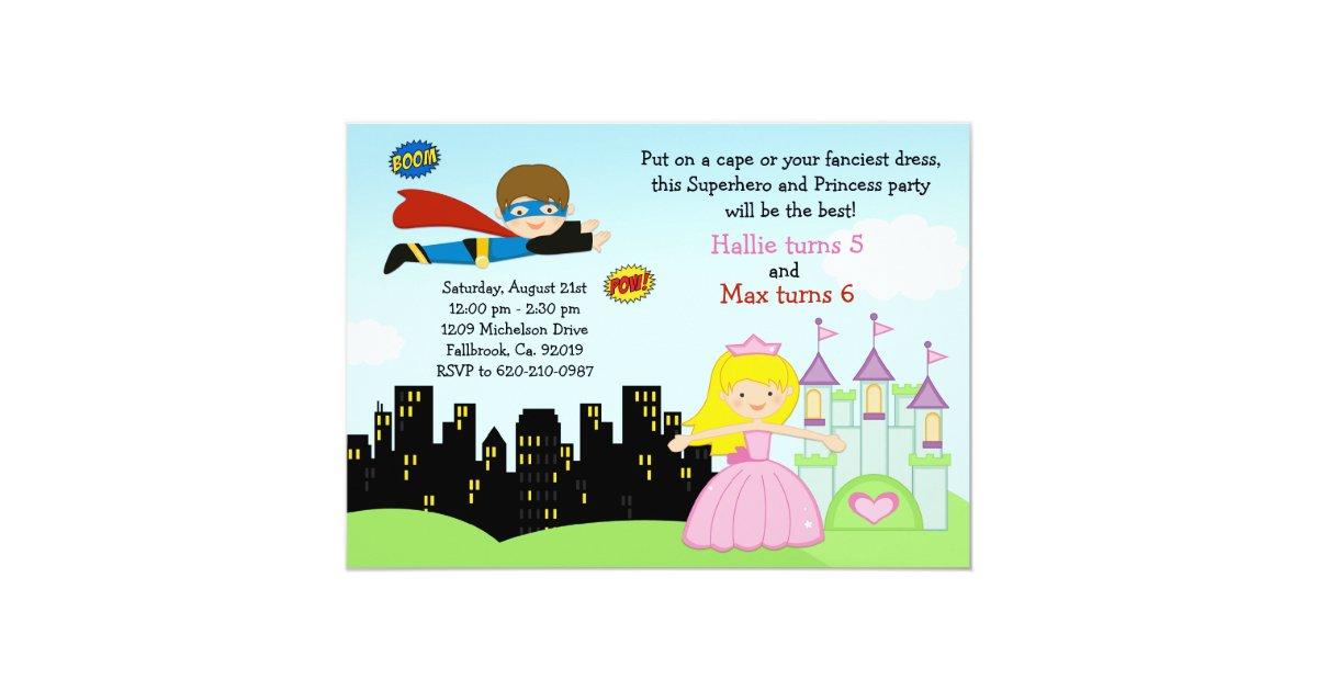 Superhero and Princess Birthday Party Invitation | Zazzle.com