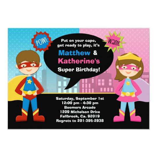 superhero and super girl birthday party invitation | zazzle, Birthday invitations