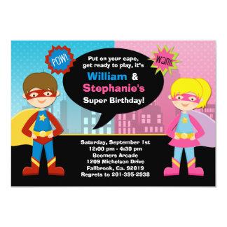 "Superhero and Super Girl Birthday Party Invitation 5"" X 7"" Invitation Card"