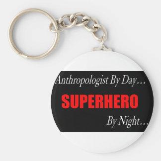 Superhero Anthropologist Basic Round Button Keychain