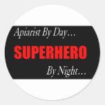 Superhero Apiarist Round Sticker